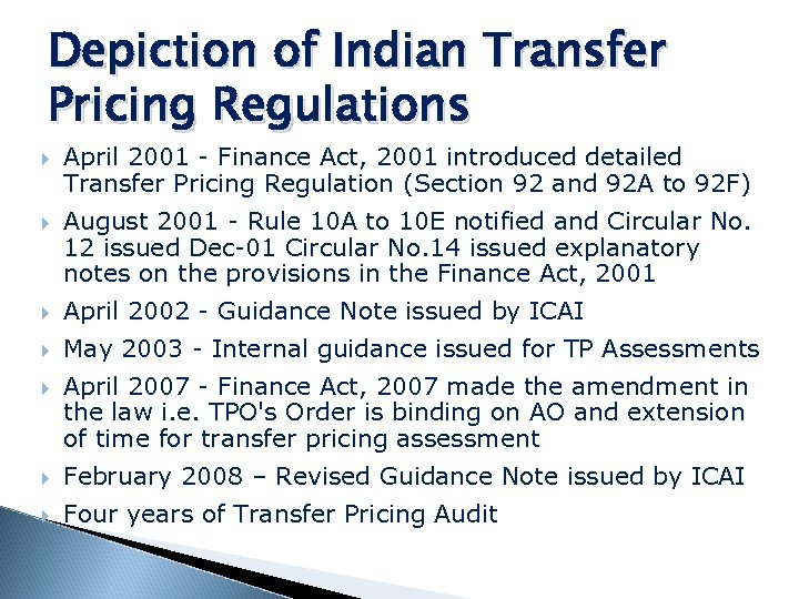 Depiction of Indian Transfer Pricing Regulations April 2001 - Finance Act, 2001 introduced detailed