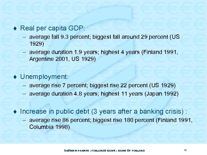 ¨ Real per capita GDP: – average fall 9. 3 percent; biggest fall around