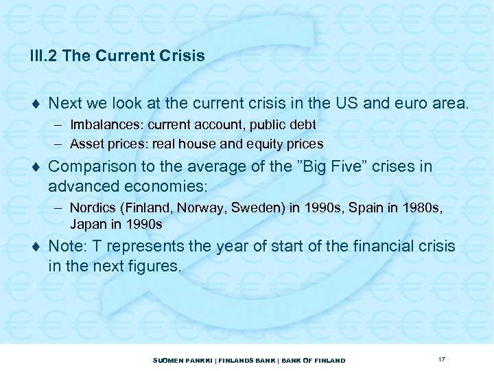 III. 2 The Current Crisis ¨ Next we look at the current crisis in