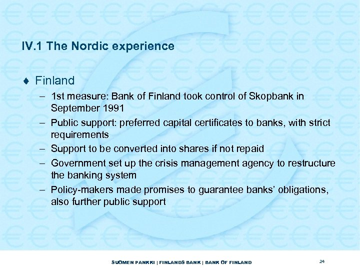 IV. 1 The Nordic experience ¨ Finland – 1 st measure: Bank of Finland