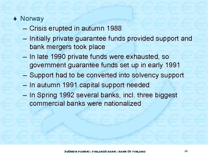 ¨ Norway – Crisis erupted in autumn 1988 – Initially private guarantee funds provided