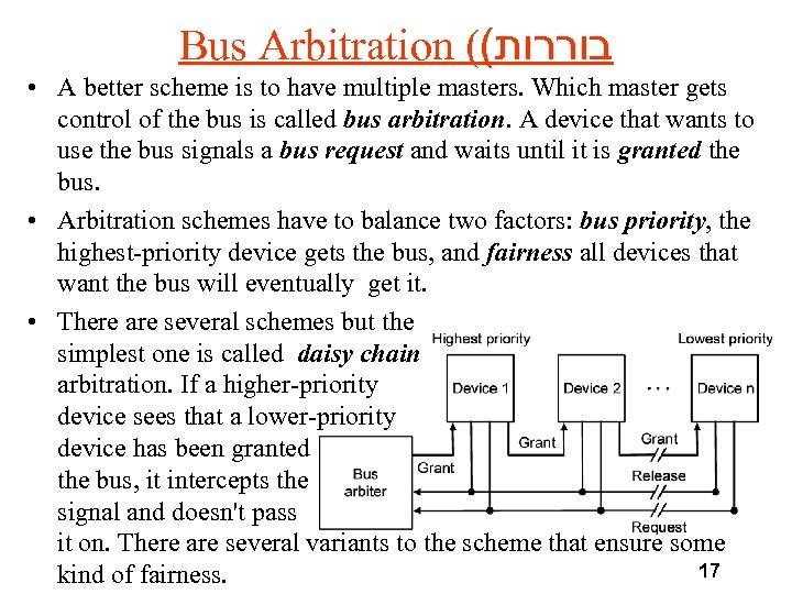 Bus Arbitration (( בוררות • A better scheme is to have multiple masters. Which
