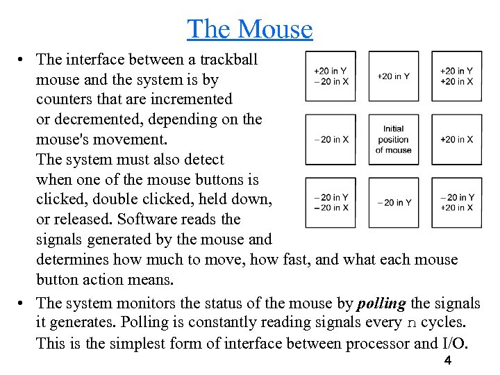 The Mouse • The interface between a trackball mouse and the system is by