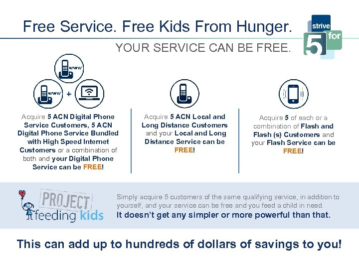 Free Service. Free Kids From Hunger. YOUR SERVICE CAN BE FREE. + Acquire 5