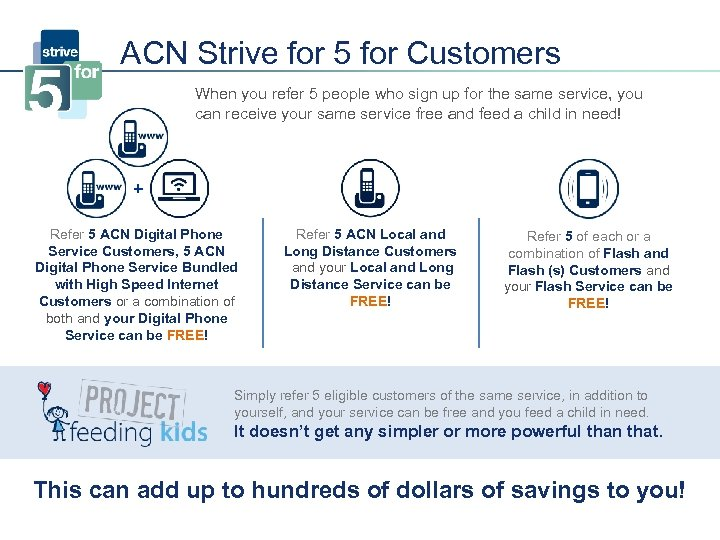 ACN Strive for 5 for Customers When you refer 5 people who sign up