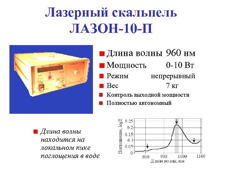 Лазерный скальпель ЛАЗОН-10 -П Длина волны 960 нм Мощность 0 10 Вт Режим Вес