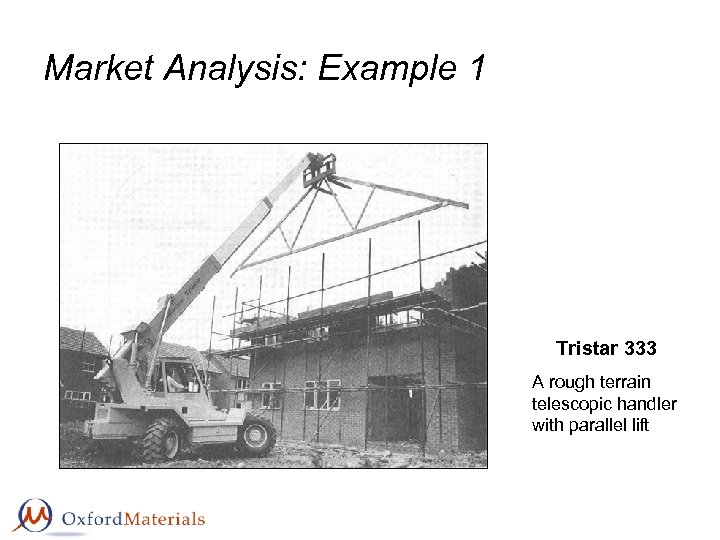 Market Analysis: Example 1 Tristar 333 A rough terrain telescopic handler with parallel lift