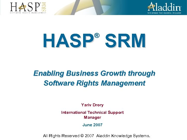 HASP SRM Enabling Business Growth through Software