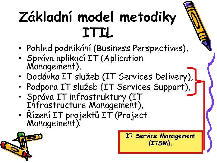 Základní model metodiky ITIL • Pohled podnikání (Business Perspectives), • Správa aplikací IT (Aplication