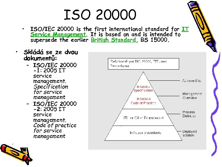 ISO 20000 • ISO/IEC 20000 is the first international standard for IT Service Management.