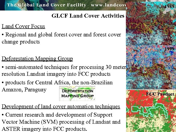 1989 GLCF Land Cover Activities Land Cover Focus • Regional and global forest cover