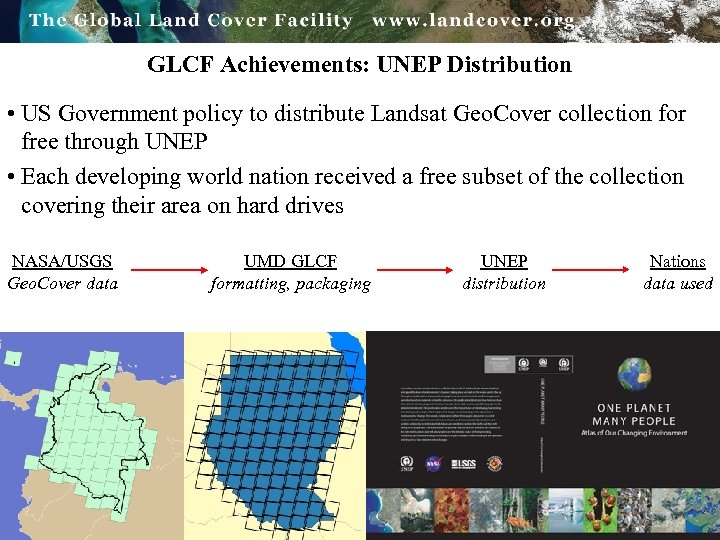 GLCF Achievements: UNEP Distribution • US Government policy to distribute Landsat Geo. Cover collection