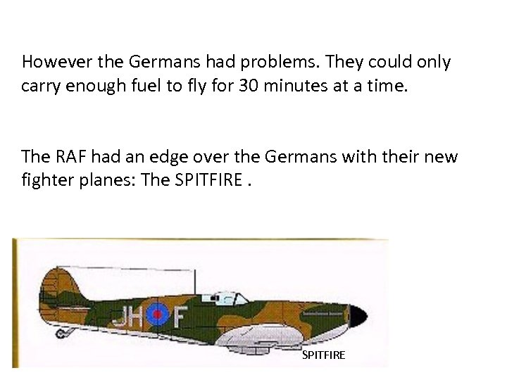 However the Germans had problems. They could only carry enough fuel to fly for