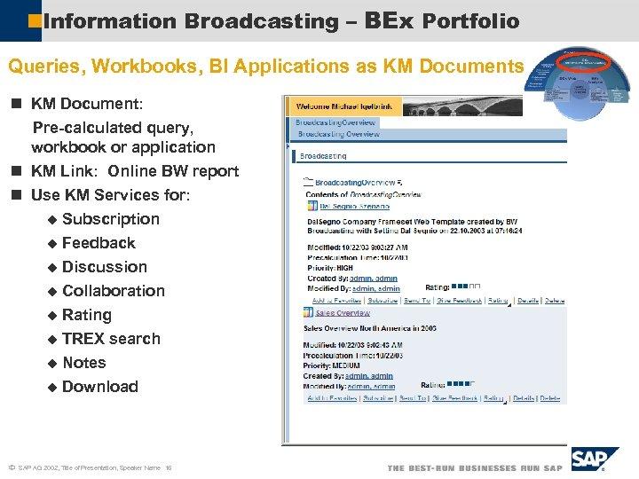 Information Broadcasting – BEx Portfolio Queries, Workbooks, BI Applications as KM Documents n KM