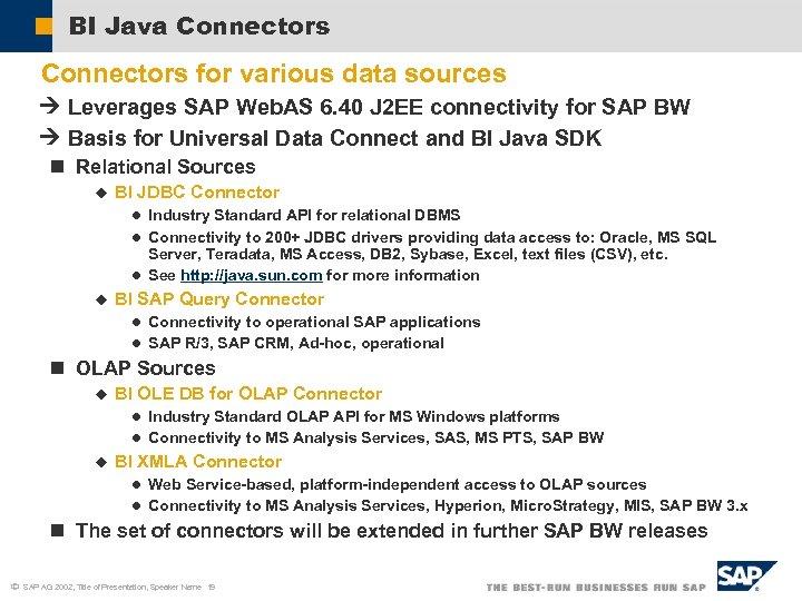 BI Java Connectors for various data sources Leverages SAP Web. AS 6. 40 J