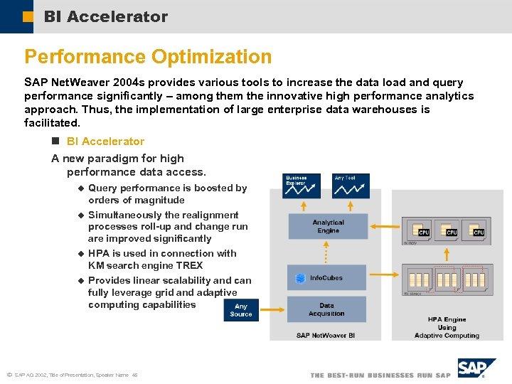 BI Accelerator Performance Optimization SAP Net. Weaver 2004 s provides various tools to increase