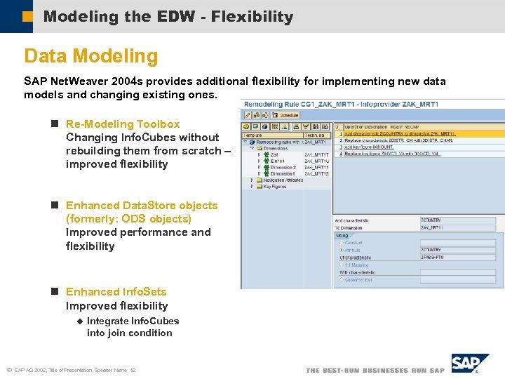 Modeling the EDW - Flexibility Data Modeling SAP Net. Weaver 2004 s provides additional