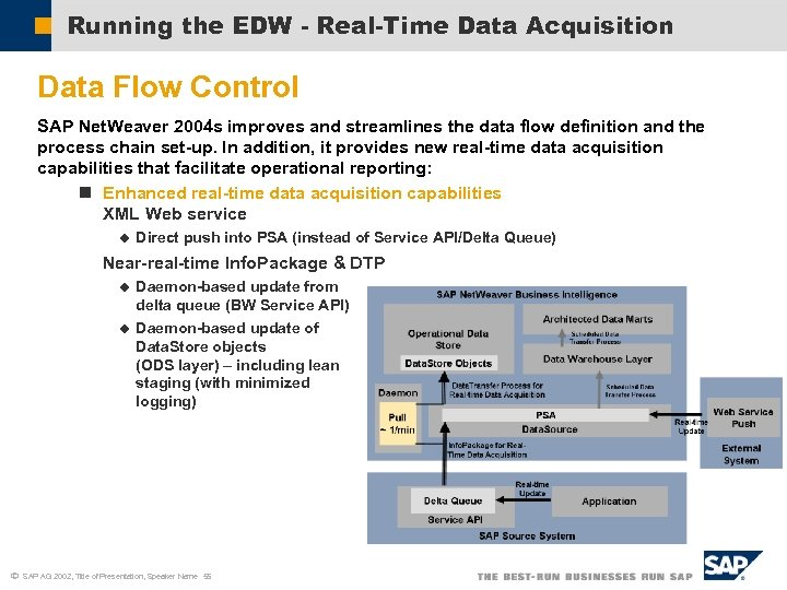 Running the EDW - Real-Time Data Acquisition Data Flow Control SAP Net. Weaver 2004