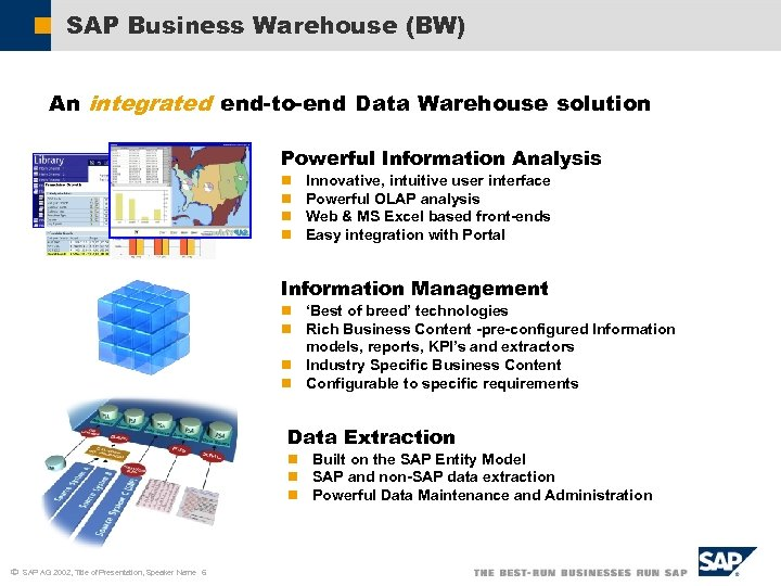 SAP Business Warehouse (BW) An integrated end-to-end Data Warehouse solution Powerful Information Analysis n