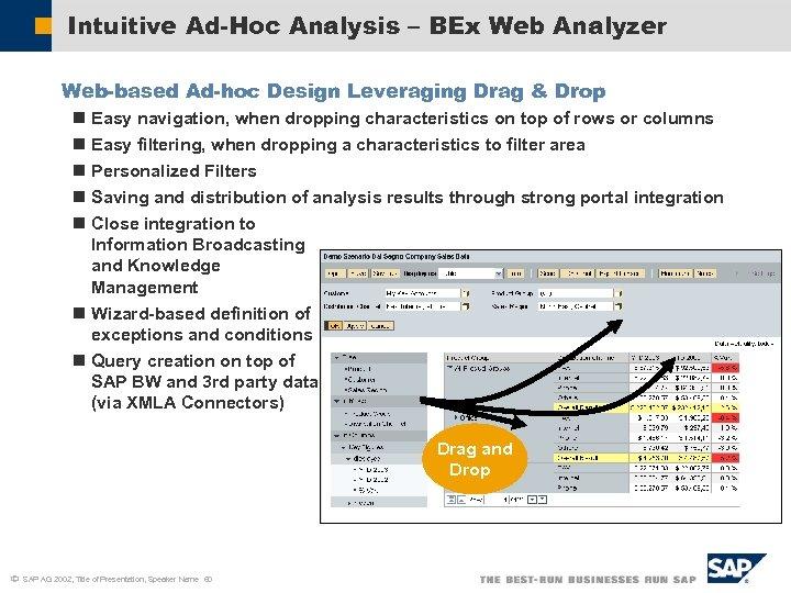 Intuitive Ad-Hoc Analysis – BEx Web Analyzer Web-based Ad-hoc Design Leveraging Drag & Drop