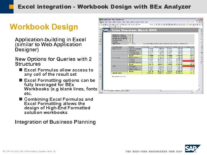 Excel integration - Workbook Design with BEx Analyzer Workbook Design Application-building in Excel (similar