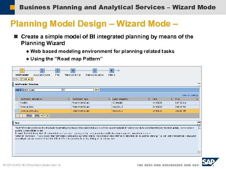 Business Planning and Analytical Services – Wizard Mode Planning Model Design – Wizard Mode