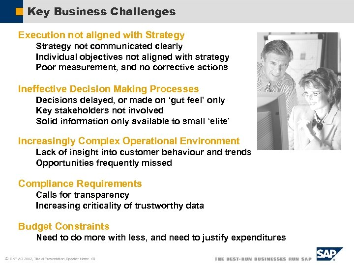 Key Business Challenges Execution not aligned with Strategy not communicated clearly Individual objectives not
