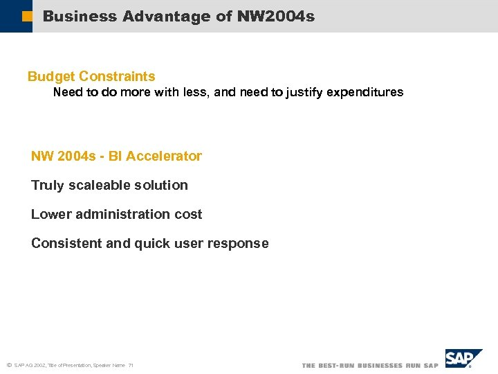 Business Advantage of NW 2004 s Budget Constraints Need to do more with less,
