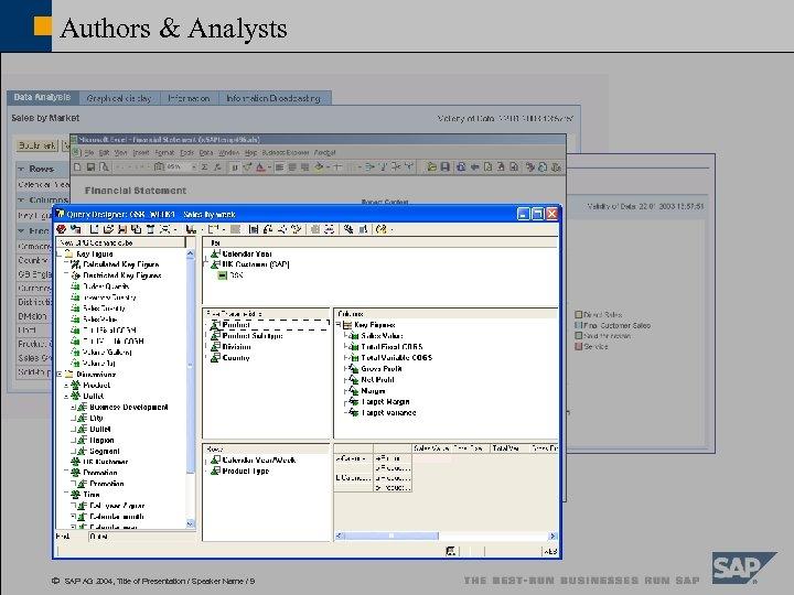 Authors & Analysts ã SAP AG 2004, Title of Presentation / Speaker Name /