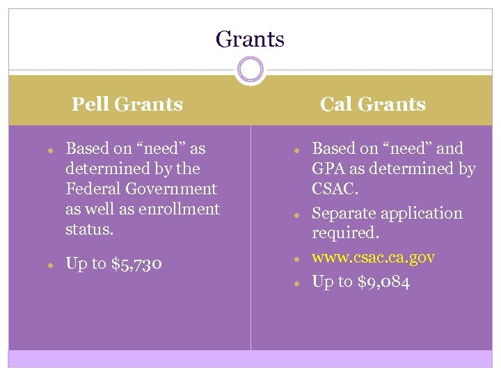 "Grants Cal Grants Pell Grants ● ● Based on ""need"" as determined by the"
