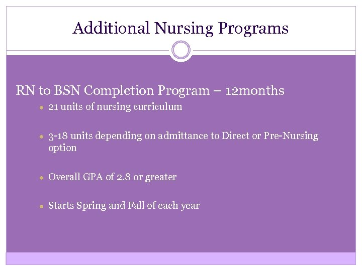 Additional Nursing Programs RN to BSN Completion Program – 12 months ● 21 units