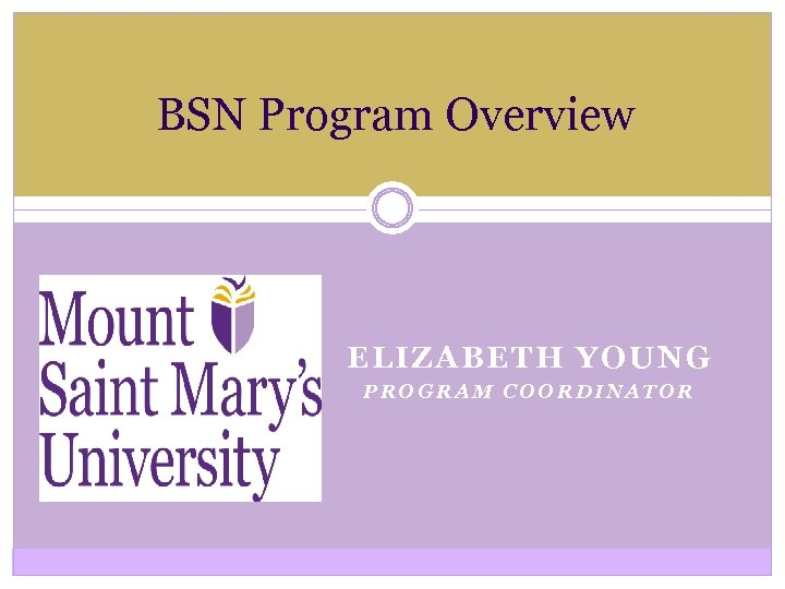 BSN Program Overview ELIZABETH YOUNG PROGRAM COORDINATOR