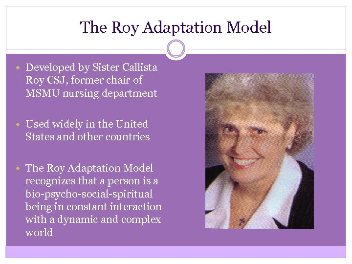 The Roy Adaptation Model Developed by Sister Callista Roy CSJ, former chair of MSMU
