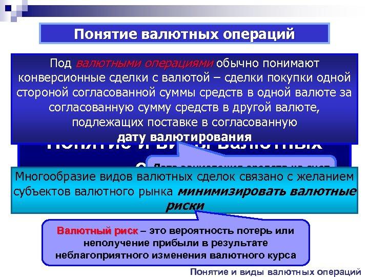 Понятие валютных операций Под валютными операциями обычно понимают конверсионные сделки с валютой – сделки