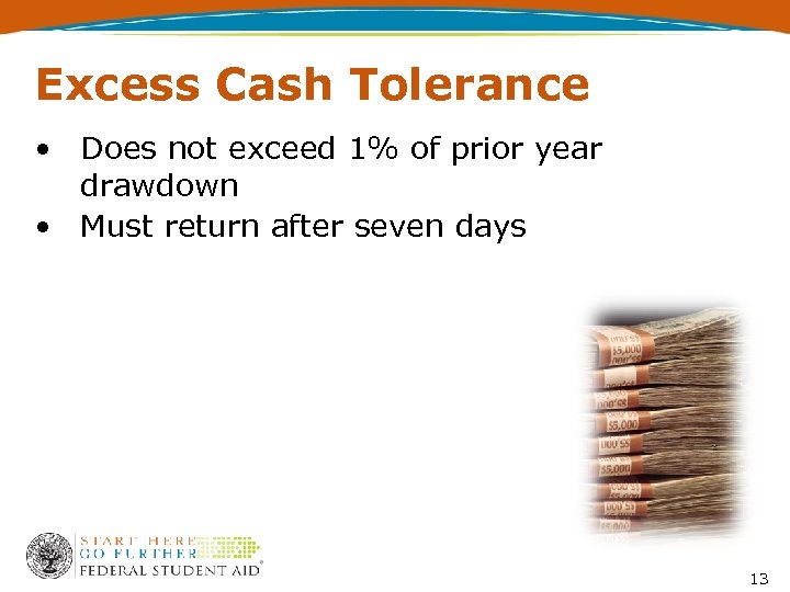 Excess Cash Tolerance • Does not exceed 1% of prior year drawdown • Must