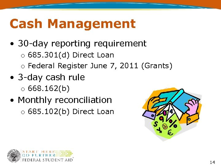 Cash Management • 30 -day reporting requirement o 685. 301(d) Direct Loan o Federal