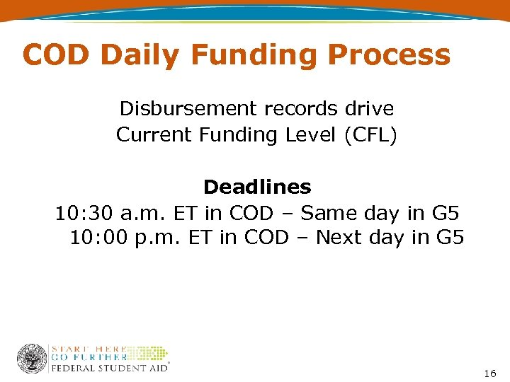 COD Daily Funding Process Disbursement records drive Current Funding Level (CFL) Deadlines 10: 30
