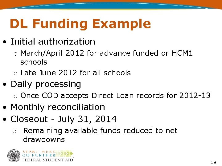 DL Funding Example • Initial authorization o March/April 2012 for advance funded or HCM
