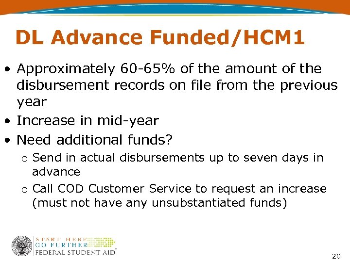 DL Advance Funded/HCM 1 • Approximately 60 -65% of the amount of the disbursement