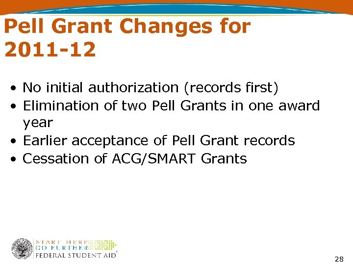 Pell Grant Changes for 2011 -12 • No initial authorization (records first) • Elimination