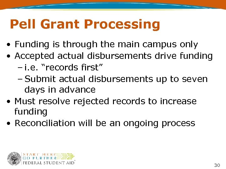 Pell Grant Processing • Funding is through the main campus only • Accepted actual