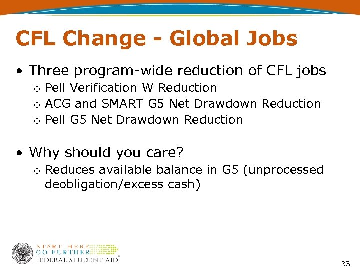 CFL Change - Global Jobs • Three program-wide reduction of CFL jobs o Pell