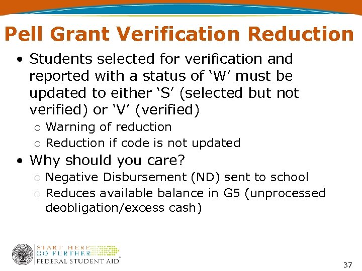 Pell Grant Verification Reduction • Students selected for verification and reported with a status