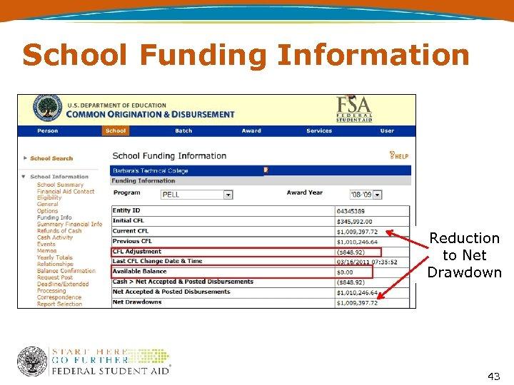 School Funding Information Reduction to Net Drawdown 43