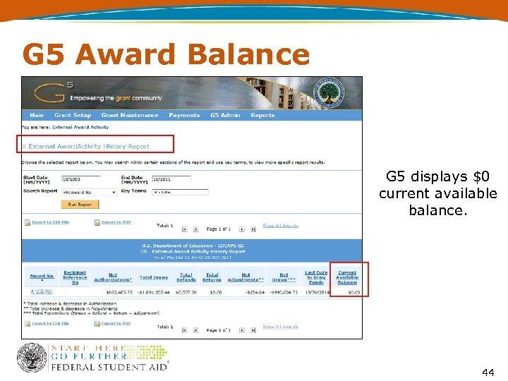 G 5 Award Balance G 5 displays $0 current available balance. 44