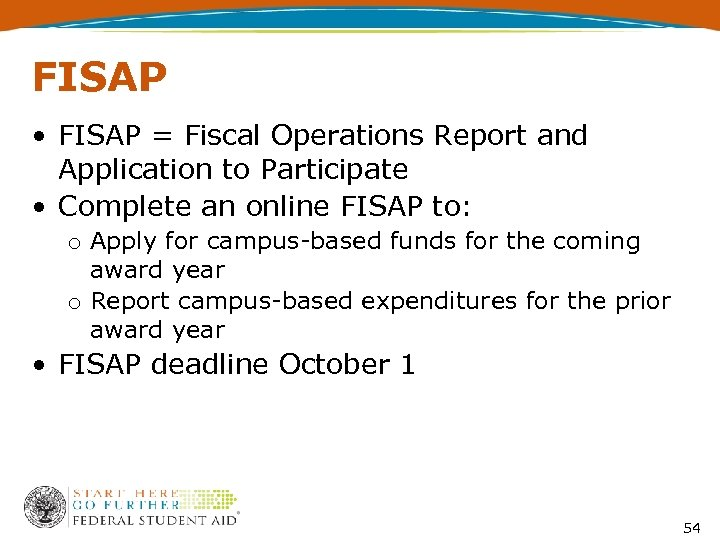 FISAP • FISAP = Fiscal Operations Report and Application to Participate • Complete an