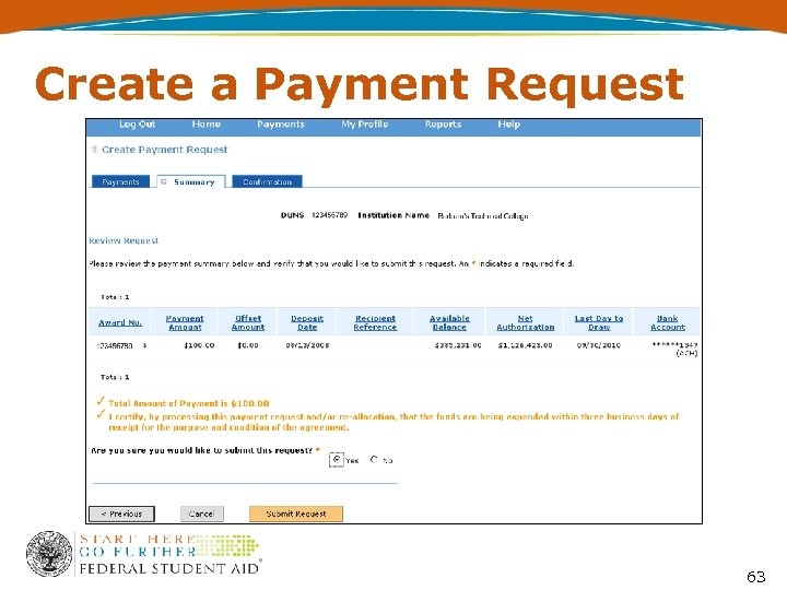 Create a Payment Request 63