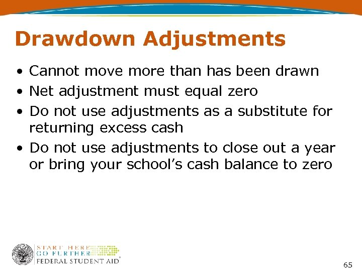 Drawdown Adjustments • Cannot move more than has been drawn • Net adjustment must
