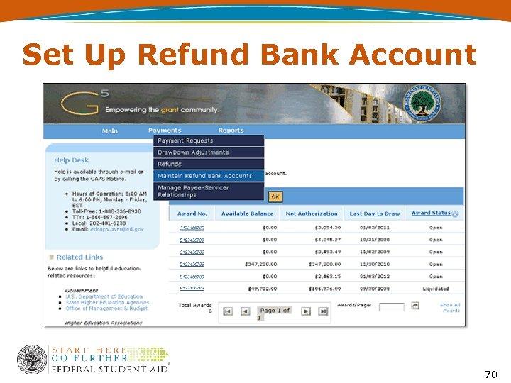 Set Up Refund Bank Account 70