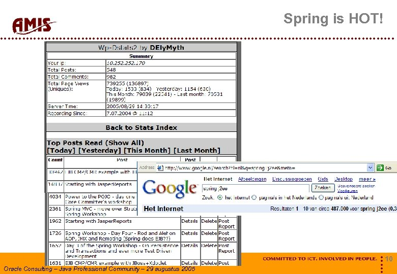 Spring is HOT! Oracle Consulting – Java Professional Community – 29 augustus 2005 10